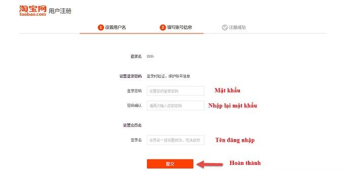 Hoàn thành thông tin cá nhân Tao Bao