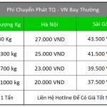 Bảng giá ship hộ hàng từ Trung Quốc về Việt Nam